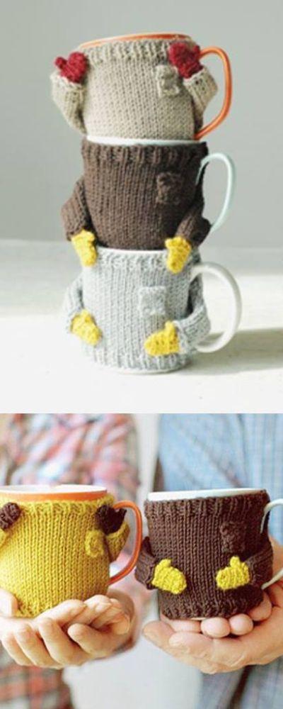 capa para canecas tricô - sueter e luva