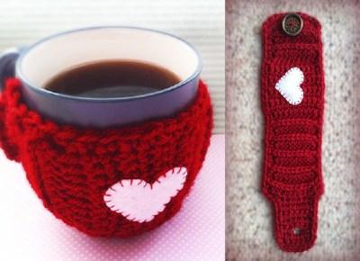 capa para canecas crochê - coração