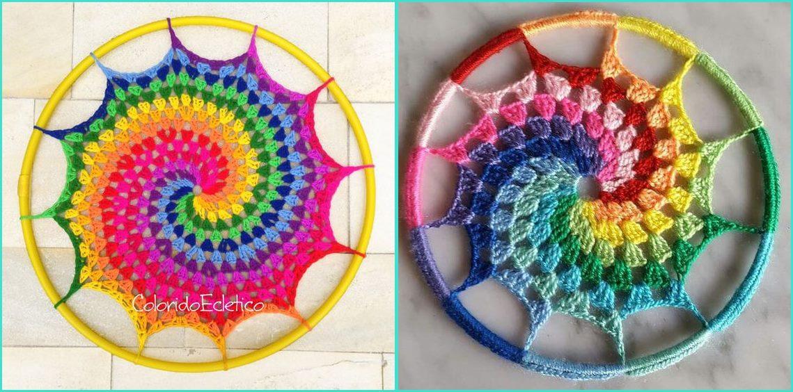 Mandala em crochê espiral decoração parede - Benefícios e cores da mandala