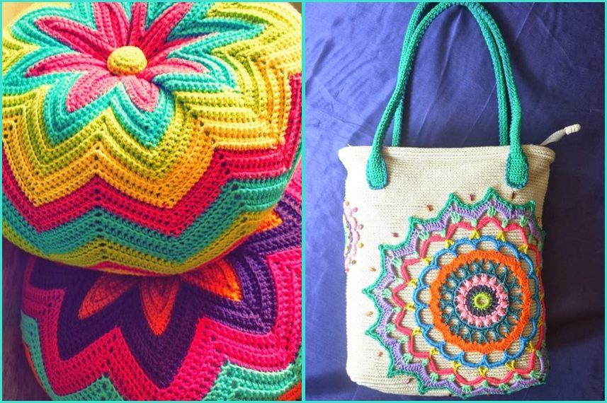 Mandala em croche bolsa e almofada - Benefícios e cores da mandala