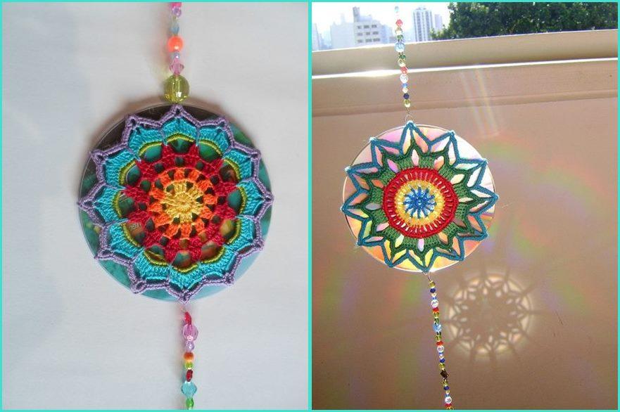 Mandala em crochê pingente de CD - Benefícios e cores da mandala