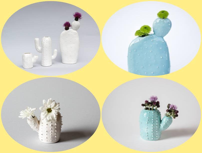 Decoração com divertidos vasos de cerâmica cacto