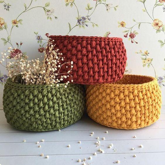 cesta de croche com fio de malha - DIY - artesanato - presente