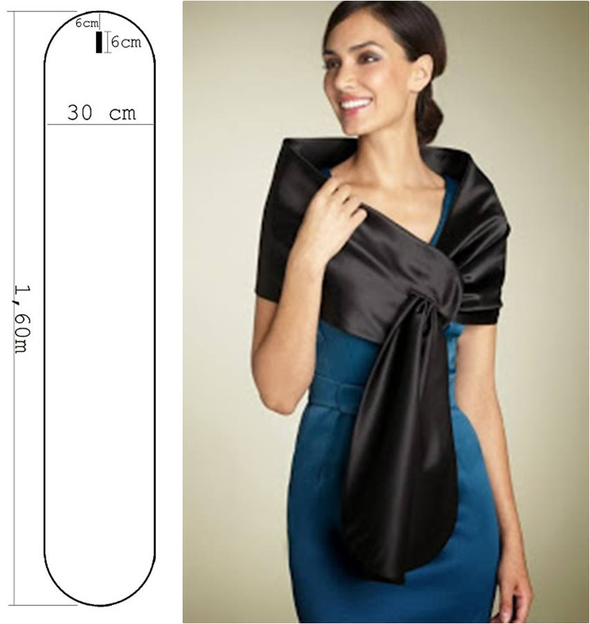 07-molde estola ou echarpe para festa de casamento cetim - diy - faça você mesmo - costura