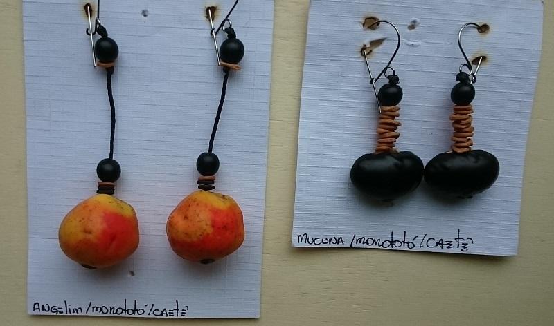 feira de artesanato do Largo da Ordem em Curitiba - Paraná - Brincos de sementes