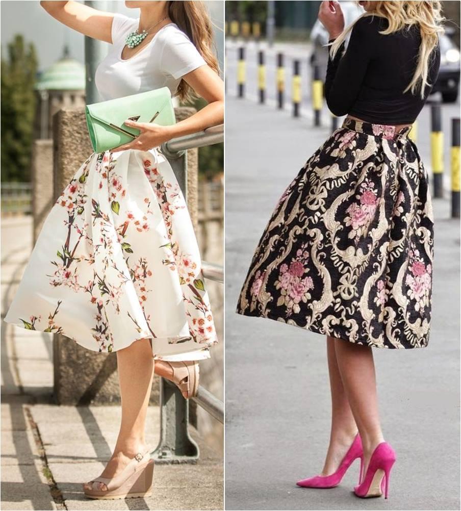 saia midi rodada floral - moda anti-idade