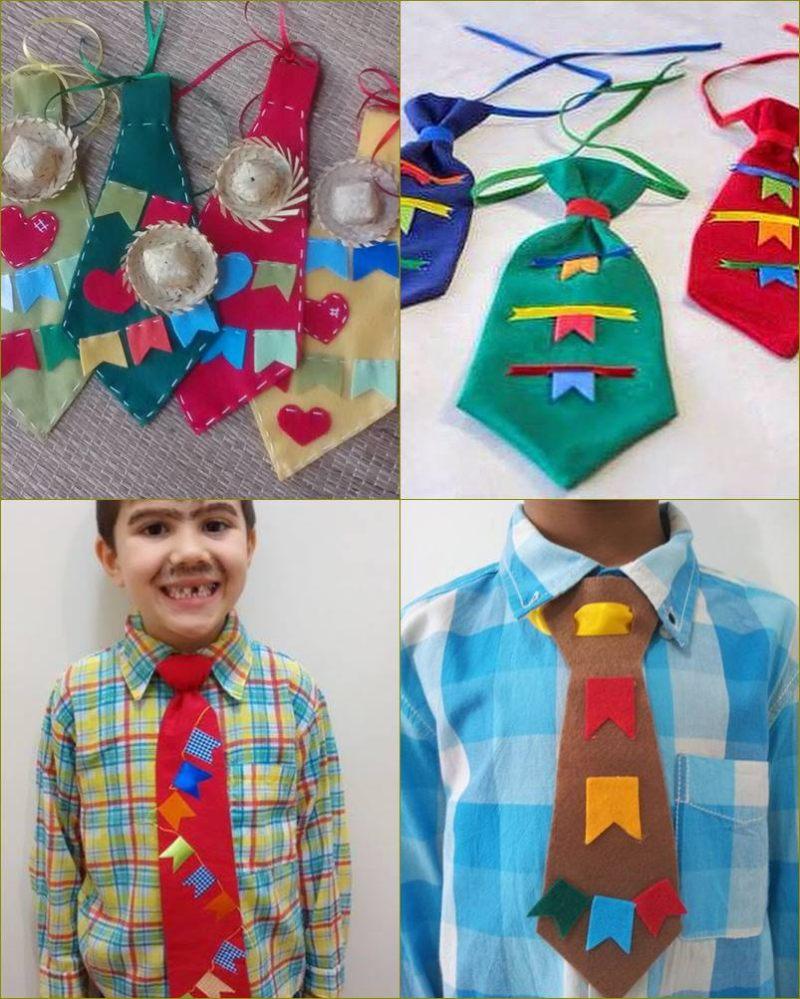Roupa para festa junina - DIY - gravata com apliques para menino