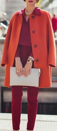 Casaco de inverno de cores quentes - papaya