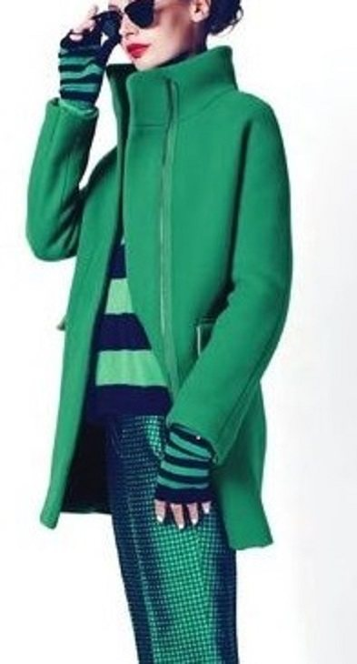 Casaco de inverno de cores quentes - verde