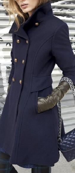 Casaco de inverno de cores quentes - azul