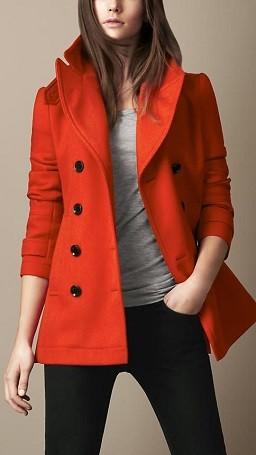 Casaco de inverno de cores quentes - vermelho