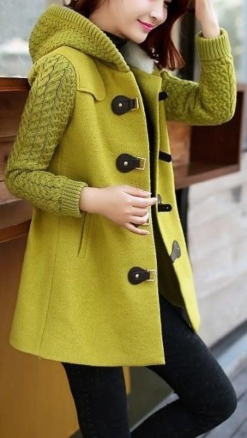 Casaco de inverno com capuz - verde