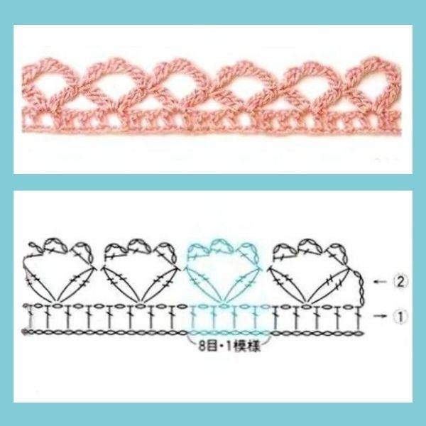 Para copiar: 10 Bicos de crochê com gráfico 1