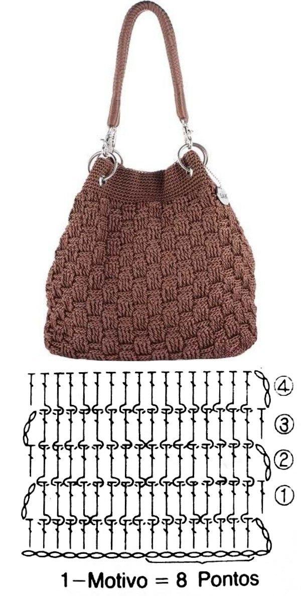 Bolsa de crochê com estilo (+gráfico do ponto)