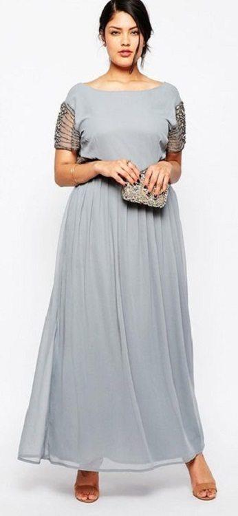 moda festas - vestido prata sucesso, cinza equilíbrio