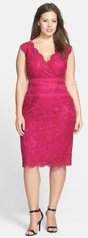 moda festas - vestido rosa de renda - plus size