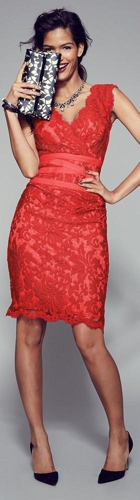 moda festas - vestido vermelho de renda para Natal