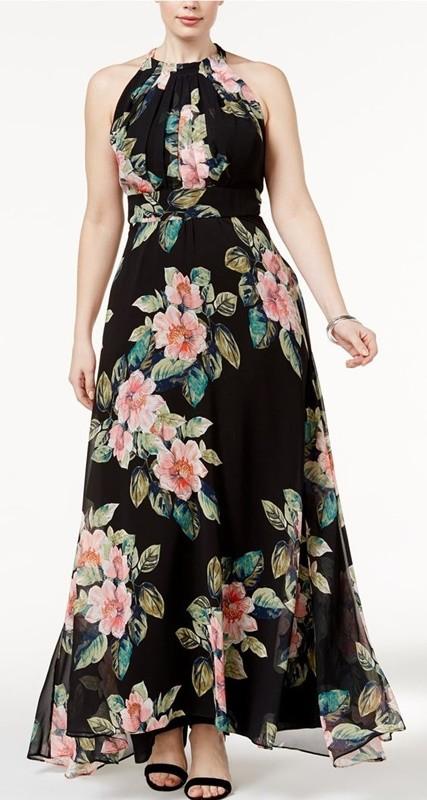 vestido floral preto - plus size - 50+ 60+ moda anti-idade