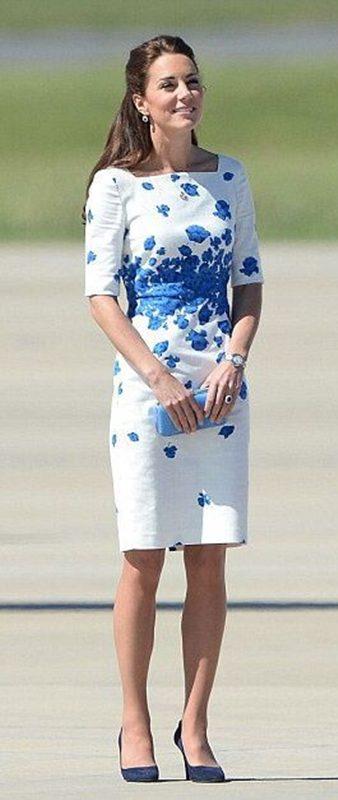 Moda azul e branco, Kate Middleton