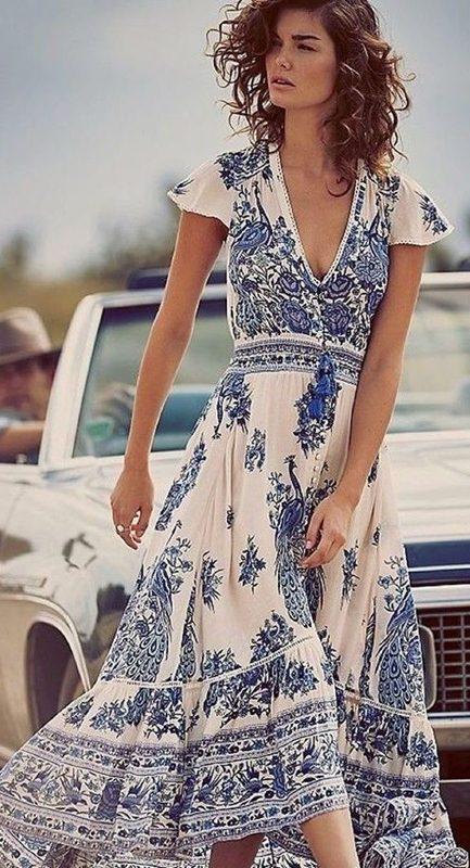 Moda anti-idade, vestido estampado azul e branco , porcelana chinesa