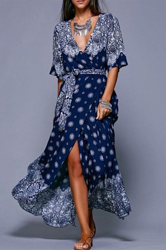 Vestido estampado azul e branco , blue and white dress