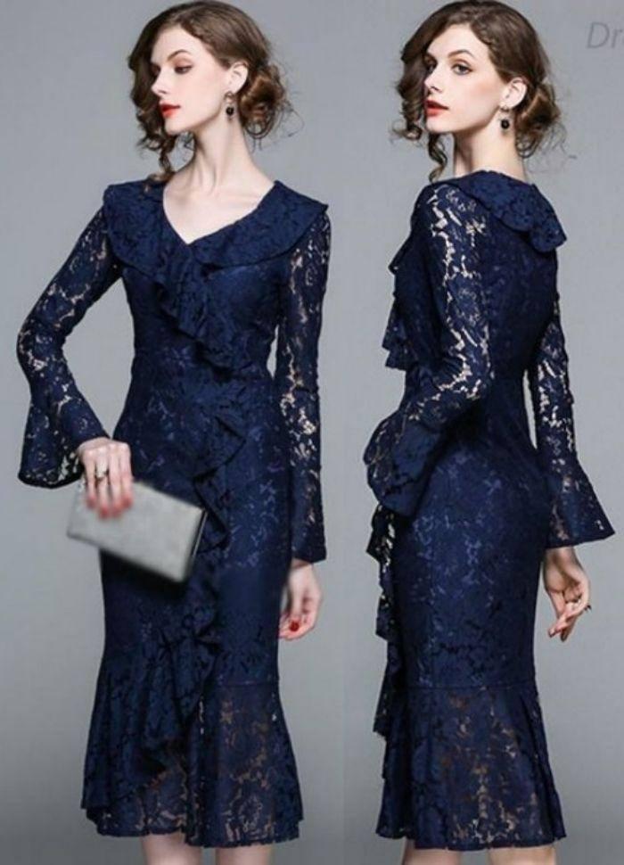 Moda anti-idade: 25 modelos de vestido de festa azul