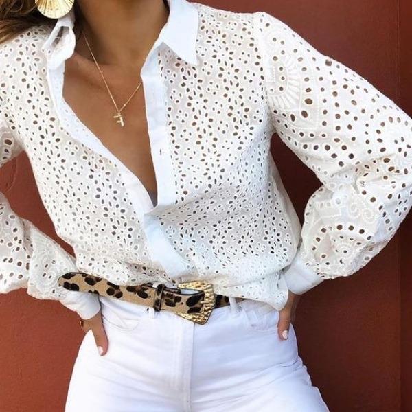 Modelos de camisa em laise bem feminina