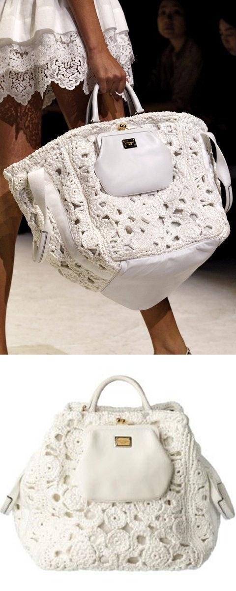 Bolsa de Ermanno Scervino branca em crochê - DIY