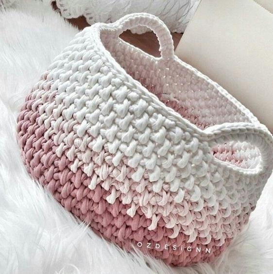 97adea16e +18 ideias de cestos em tricô ou crochê com fio de malha
