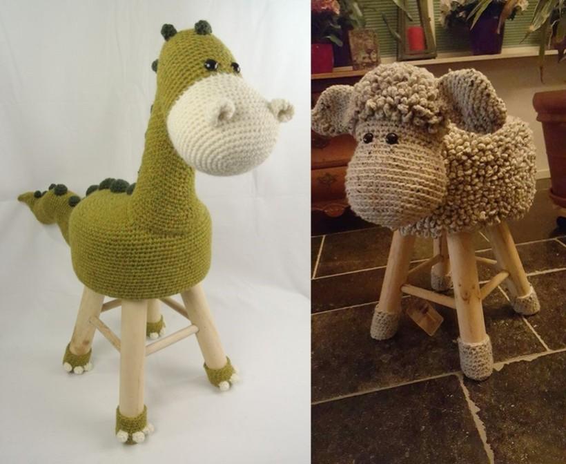 DiY - Banquinho de crochê ovelha e dinossauro