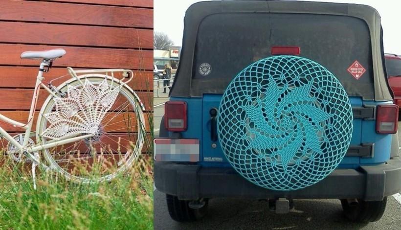 DIY - capa para roda de bicicleta e carro em crochê