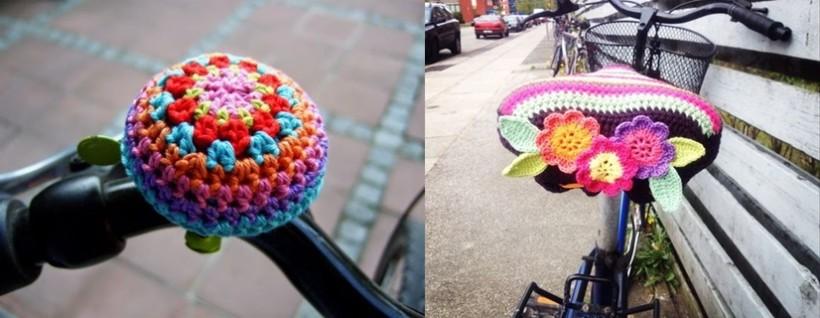 Ideias em crochê, capa de crochê para banco de bicicleta e buzina de bicicleta