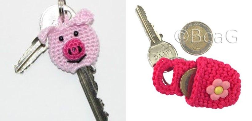 Capa para chave em crochê e chaveiro porta-níquel em crochê