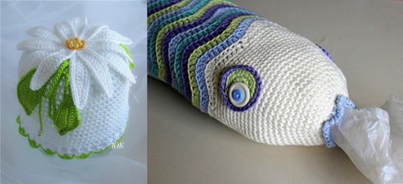 Faça você mesmo puxa-savo em crochê , formato de peixe