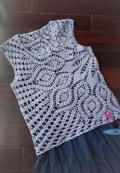 croche que aparece - blusa croche redondo branco - tutorial