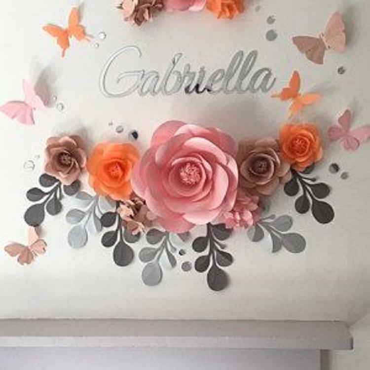 Flores gigantes de papel diy decora o de frente para - Fotos gigantes para decorar paredes ...
