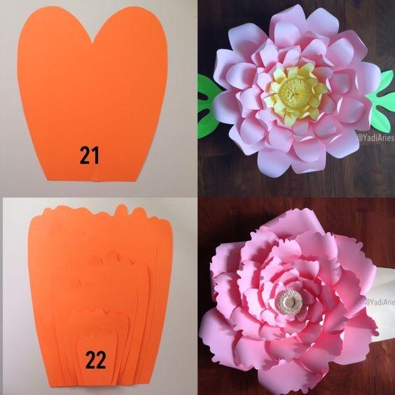 DIY - molde de folha das flores gigantes de papel