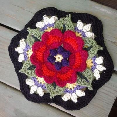 octogonos em croche - tapete com flores de crochê