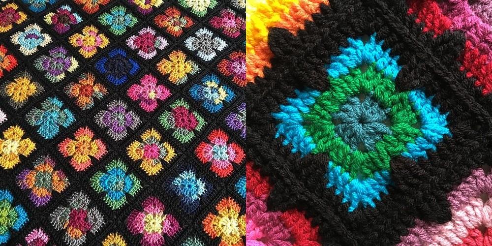 quadrados em croche - tapete