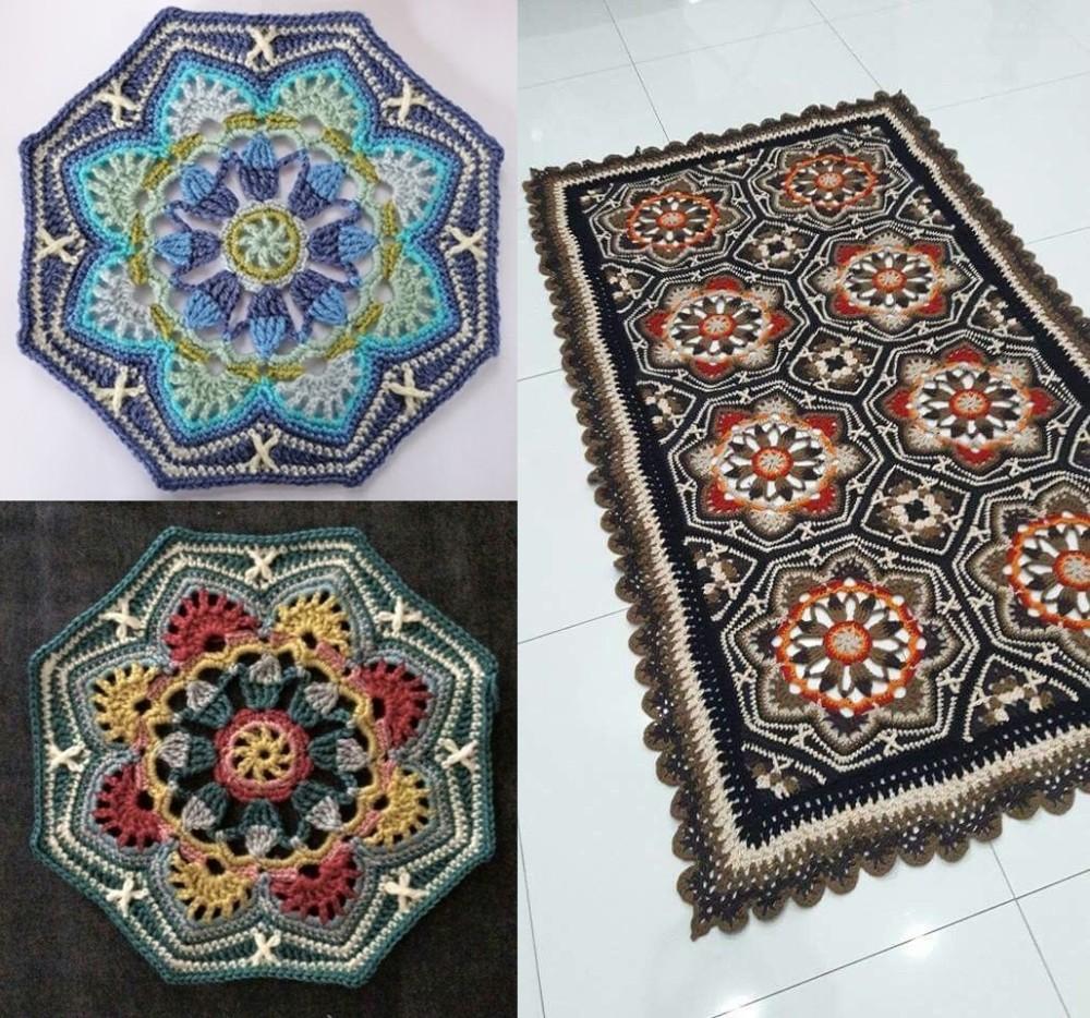 tapete com flores de crochê