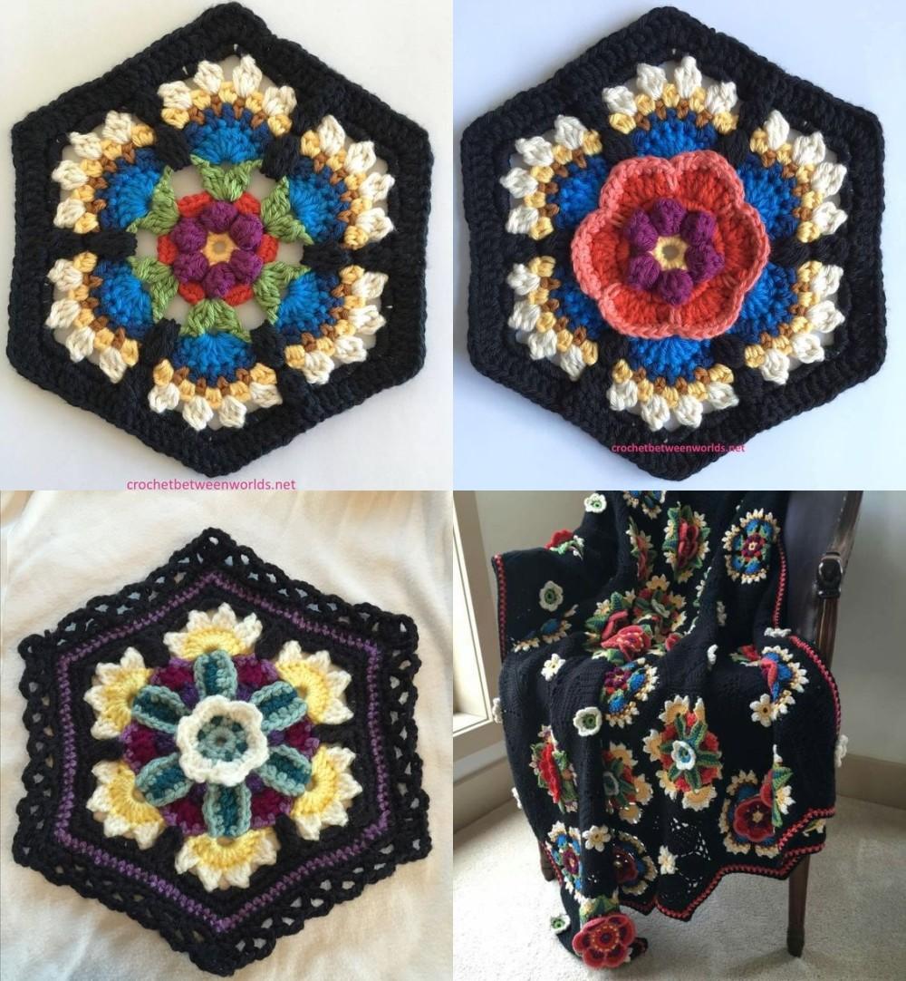 tapete com flores de crochê - octogonos em croche
