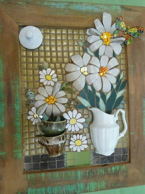Xícaras ou louças quebradas? Diy quadros com mosaico picassiette