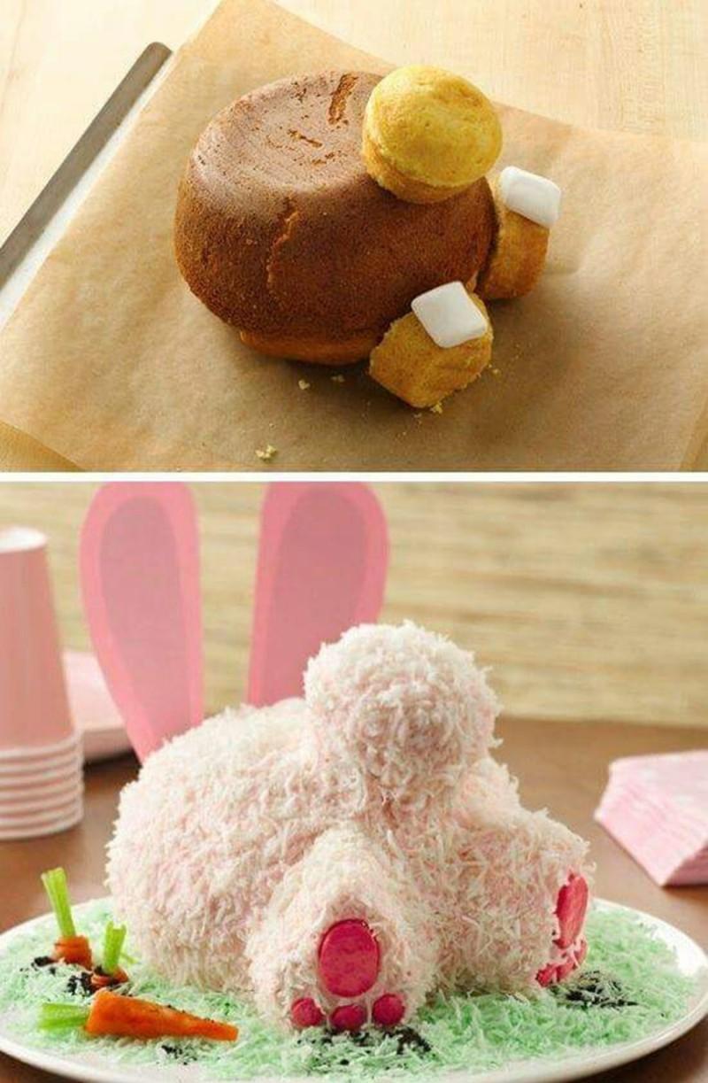 como montar o bolo com bundinha do coelho da páscoa
