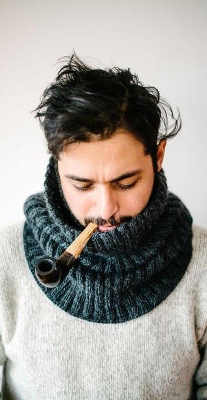 Gola de tricô masculino
