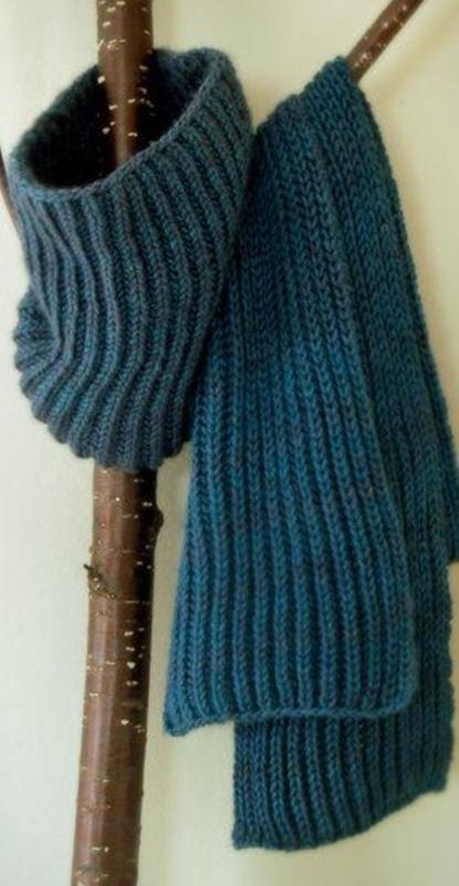 Gola e cachecol de tricô masculino