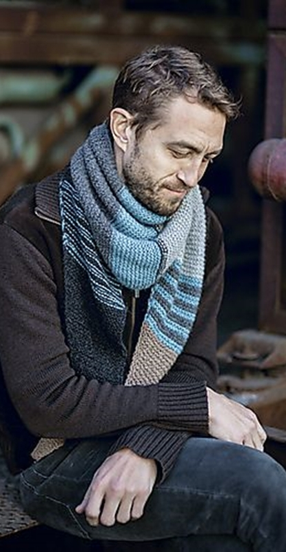 Cachecol masculino de tricô de listras