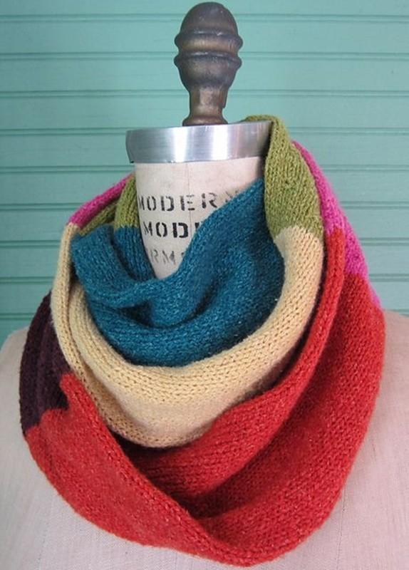 Faça você mesma - gola de tricô colorido