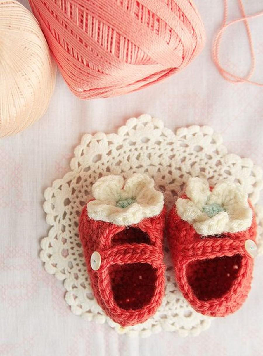 Faça você mesma - sapatinho de bebê vermelho