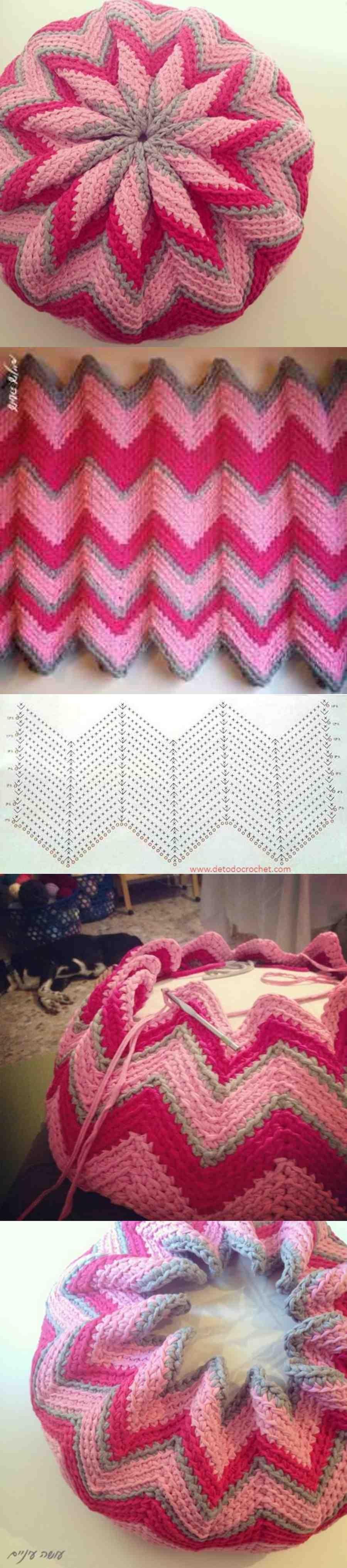 Como fazer o crochê zig-zag virar estrela  - www.defrenteparaomar.com