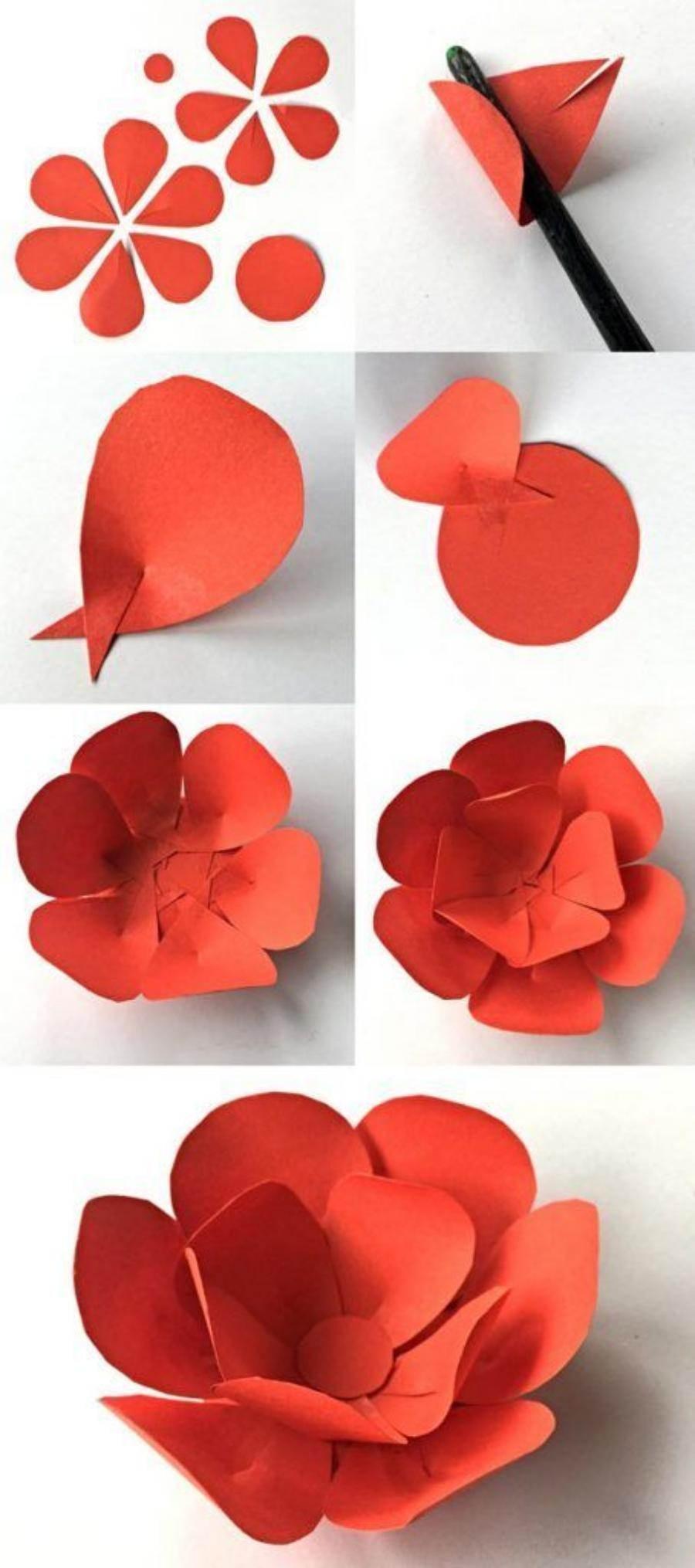 Passo-a-passo de flores de papel